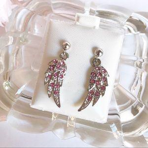 Jewelry - Silver Tone Pink Rhinestone Angel Wings Earrings